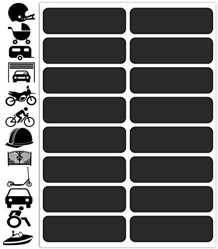 Biomar Labs 16pcs x PVC Adesivi Set per Cerchioni Rifrangenti Reflective Segnaletici Riflettenti Sicurezza Notturna, Nero per Casco Passeggino Bicicletta Scooter Motocicletta Recinto la Barca D 63