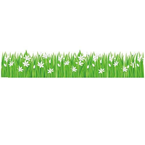 Winhappyhome Decor Stickers Sayuri Erba Battiscopa Battiscopa Angolo Line Art Adesivi Murali Removibili per Camera da Letto Soggiorno Ingresso Asilo Nido TV Sfondo