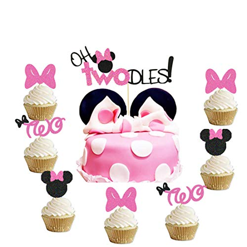 Oh Twodles Minnie Mouse Cake Topper and Cupcake Topper,Second 2nd Birthday Party Supplies Decorations for Baby Girl 31Pcs(Pink)