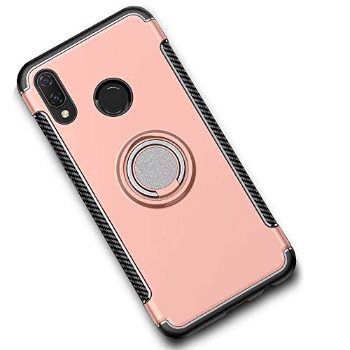 LAGUI Coque Convient pour Huawei Honor 8X, Housse avec l'anneau et Plaque de Métal, Double Couche Robuste TPU/PC Hybride Etui, Aimants Support de Voiture Spécial Téléphone Portable Shell. Rose doré