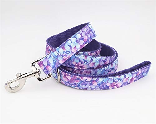 7°MR Set aus Hundehalsband und Leine Lila Mädchen Hundehalskragen Hund Blume und Leine Set für Haustierhundkatze mit rosafarbener Goldmetallschnalle (Color : Only Leash, Size : L)