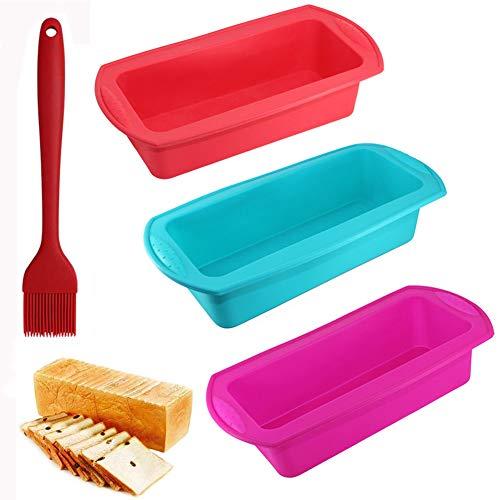SIMUER 3er Silikon Brotbackform und Kastenform Set - Antihaftende Silikon Backform für Kuchen, Brotform und Ölbürste zum Backen von Bananenbrot-Laib-Pfund-Kuchen