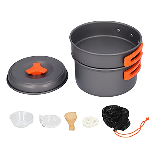 minifinker Camping Cookware Kit, Outdoor Cookware Set Smooth and Burr-free Large Capacity Facilitate Portability with Cooking Utensils for Steaming Boiling and Frying Food