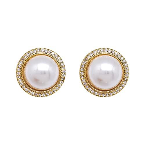 DHDHWL Pendientes Pendientes de plata de la perla de la aguja pequeños Pendientes simples y versátiles de gama alta de la moda de la red del temperamento Pendientes rojos de la marea