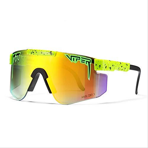 BGRFT Gafas de sol Pit Viper, doble ancho polarizado, espejo azul, lente Tr90, protección Uv400, gafas de sol deportivas para ciclismo C34