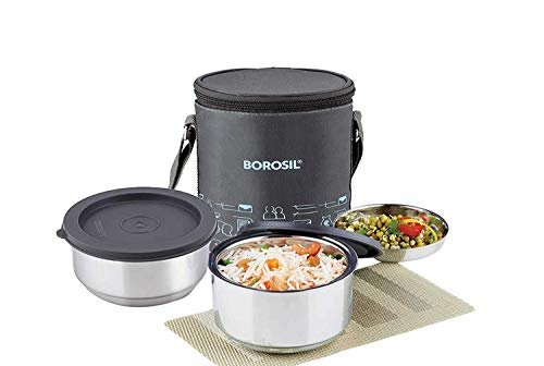 Borosil Carry Fresh Stainless Steel Insulated Lunch Box Set, 2-Piece, Blue (CFDWSET2NL13)