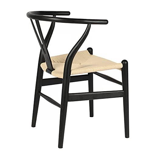 ソリッドウッドダイニング椅子カフェ編藤椅子家庭用木造パソコンチェアYチェア叉骨背もたれ (北米産アッシュ材 (黒+ナチュラルカラーシート))