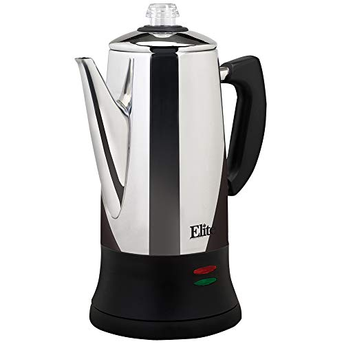 Maxi Matic Elite Platinum 12-Cup Percolator, Stainless Steel/Black
