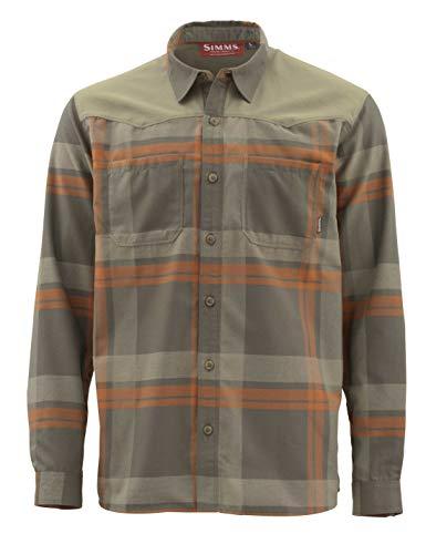 Simms Ford Flannel Shirt Quick Dry Fishing Top Dark Stone Plaid 3XL