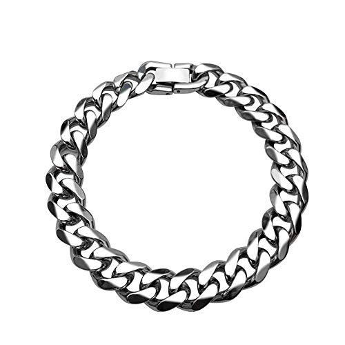 XXX Pulsera de cadena para hombre, 8/10 mm de ancho, 18/20/22 cm, chapado en oro de 18 quilates/negro/acero inoxidable