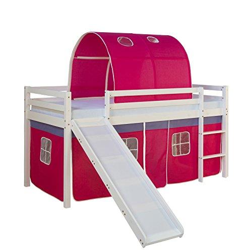 Homestyle4u 1569, Kinderbett 90x200 Weiß, Hochbett mit Rutsche Vorhang Tunnel Pink, Holz Kiefer