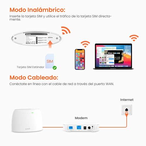 Tenda 4G03 WiFi Router 4G LTE 300 Mbps, Banda Inalámbrica de 2.4 GHz, Control Parental, Monitoreo de Tráfico de Datos, Puerto LAN/WAN, con Ranura para Tarjeta SIM