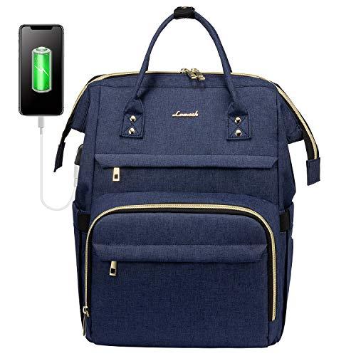 LOVEVOOK Laptoprucksack Damen 15,6 Zoll, wasserdichte Business Rucksäcke Daypack, Schulrucksack Reischerucksack mit USB Ladeanschluss, Blau