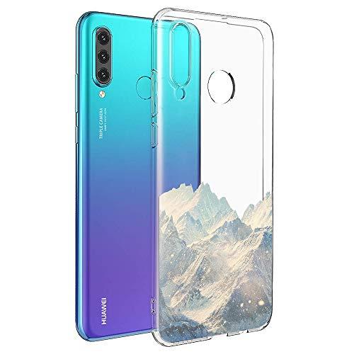 ZhuoFan Cover Huawei P30 Lite, Custodia Cover Silicone Trasparente con Disegni Ultra Slim TPU Morbido Antiurto 3D Cartoon Bumper Case Protettiva per Huawei P30 Lite (Neve Montagna)