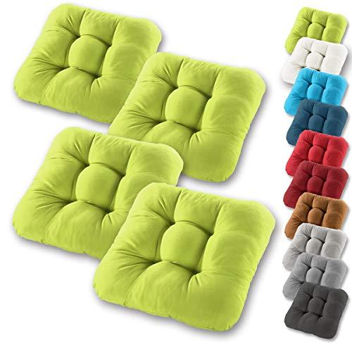 Gräfenstayn® 4er-Set Sitzkissen 40x40x8cm aus 100% Baumwolle (Bezug) mit Öko-Tex Siegel in vielen Farben, für Indoor und Outdoor mit dicker Polsterung (Apfelgrün)