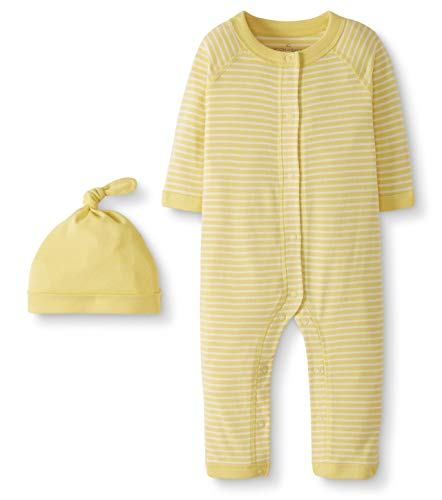 Moon and Back by Hanna Andersson Snap Front One Piece Coverall with Cap Set Infant-and-Toddler-Layette-Sets, Amarillo, Bebé prematuro