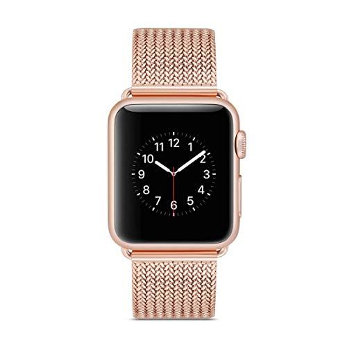 Desqueena Watch Strap Steel Steel Wamkband para Apple Watch Series 3 & 2 & 1, 42mm,StarLightd (Color : Rose Gold)