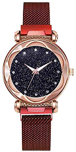 JZDH Mano Reloj Reloj de Pulsera Lujo Rosa Rosa Reloj de Oro Imán Starry Sky Señoras Relojes de Pulsera Rhinestone Mirror Reloj Mujer Reloj Mujer Relojes Decorativos Casuales (Color : Red)