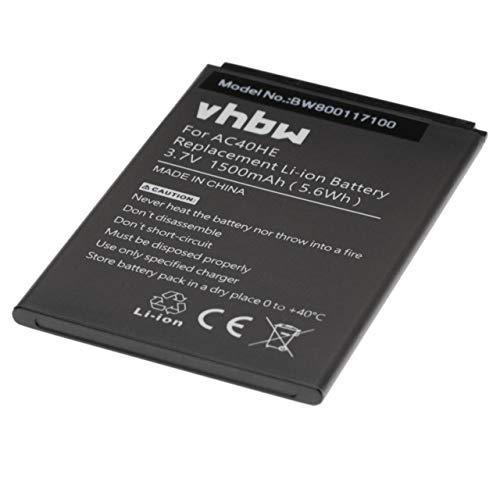 vhbw Li-Ion Akku 1500mAh (3.7V) passend für Handy Smartphone Telefon Archos 40 Helium