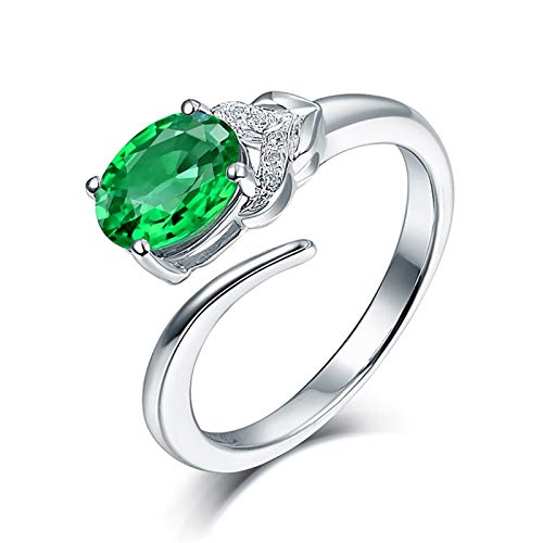 AtHomeShop Real Gold Collection, 18K White Gold Rings, Rose Open Ring Confidence Ring with Sparkling Oval Emerald and Diamond Marriage Proposal Ring for Anniversary Wedding Engagement White Gold