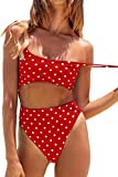 Meyeeka Women's High Waist Polka Dot One Piece Swimsuit High Waist Tummy Control Thong Sporty Monokini S