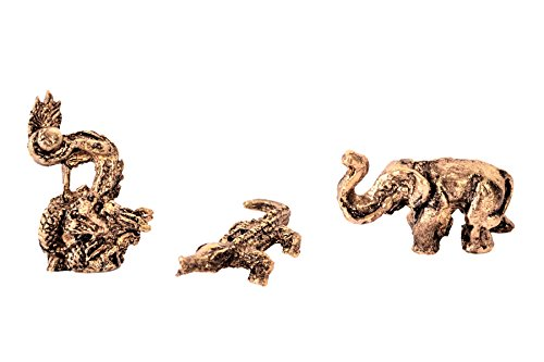 Purpledip zeldzame miniatuur metallic standbeeld set draak krokodil olifant geïnspireerd door stenen beelden van Pre Historic Era: unieke collectible gift (11235)
