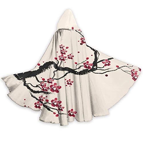 Capa Vampiro Pintura China De Flor De Ciruelo Vampiro Capucha Capa Interesante Capa De Vampiro De Moda Navidad Fiesta Disfraces para Nios Adultos 150X40Cm