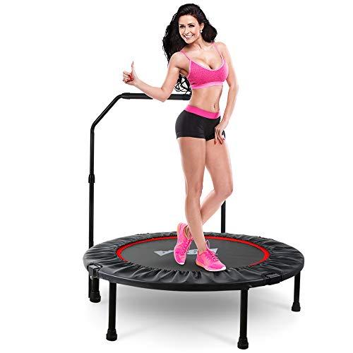 LBLA Trampolino Elastico Fitness Pieghevole Maniglia Regolabile in Altezza Mini Trampolino Adulto Interni Ø 96 cm Peso Massimo di 120 kg/260 lb