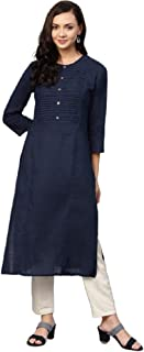 Women Solid Color A-Line Straight Tunic Kurta Tops Long Dress Kurti for Girl - 08