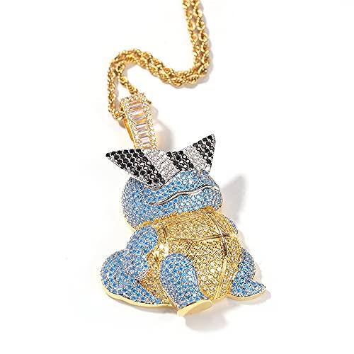 Fantex Colgante grande con forma de tortuga, pavimentado completo, brillante CZ laboratorio, collar de cadena de cuerda, chapado en oro, joyería única Hip Hop para hombres y mujeres