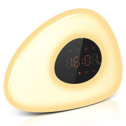 Wekker Wekken Licht Zonsopgang/Zonsondergang Simulatie met 10 Natuur Geluiden 7 Kleuren Licht Snooze Functie Touch Control RGB Dimbare Nachtlamp