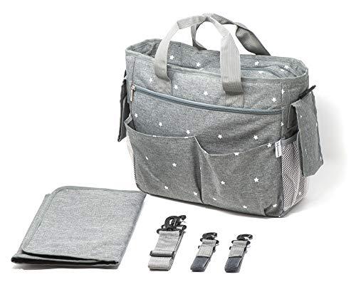Manna Bolsa de Paseo -  Incluye una mesa para cambiar pañales portátil,  ganchos y correa para el hombro -  Bolsa de cochecito espaciosa y liviana -  Gran organizador para las necesidades de su bebé