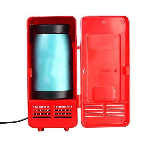 QTCD Refrigerador Refrigerador Congelador Glaciere Mini Refrigerador de Coche USB 5V Refrigerador Refrigerador Cosméticos USB Medicina (Color: Rojo)