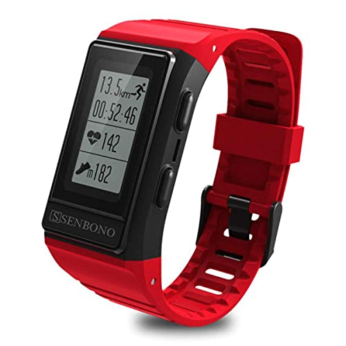 CNZZY Reloj inteligente incorporado GPS Tracker Smart Band Monitor de ritmo cardíaco Fitness Tracker IP68 Pulseras impermeables al aire libre, azul (rojo)