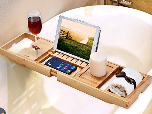Harcas Premium Bamboo Bath Tray Rack Gorgeous Extendable Bathtub Caddy with Wine Glass Holder, Soap Tray and iPad Holder/Book Rest. Perfect for Relaxing. Fits Most Bathtubs