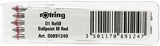 Rotring Ballpen Refill Medium - Red (Wallet of 5)