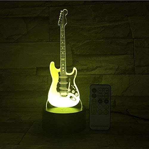 Guitarra remota Luz nocturna L¨¢mpara LED 3D 7 Cambio de color Led USB o Interruptor de control t¨¢ctil L¨¢mpara de atm¨®sfera interior Ni?os Juguetes y regalos