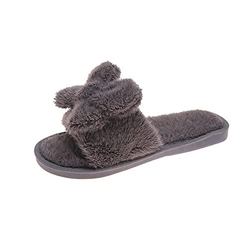 URIBAKY - Pantuflas informales para mujer, de algodón con nudo caliente, espuma con memoria y suela antideslizante, para interior y exterior, gris, 41 EU