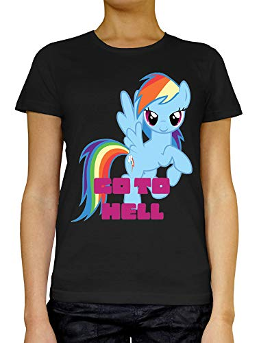 Go to Hell Rainbow Dash My Little Pony Art Frauen T-Shirt Weiß grau schwarz Large