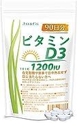 1粒にビタミンD3が1200IU(30µg)含まれています。 内容量:90粒入り(1日1粒で90日分) 【ビタミンDを得る方法】 人がビタミンDを得るには食べ物から摂る方法と、日光を浴びて紫外線でビタミンDをつくる方法です。 【どのくらい日光に当たるとビタミンDができる?】例えば夏の東京で直射日光を30分浴びると、700~800IUのビタミンDが体内につくられるといわれています。(肌の露出度10%) 【ビタミンD3】人にとって重要なビタミンDはD2とD3です。 D2とD3の働きは同じといわれてい...