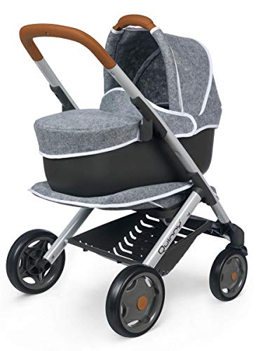 Smoby 7600253104 Quinny 3in1 Puppenwagen Kinderwagen Spiel, grau