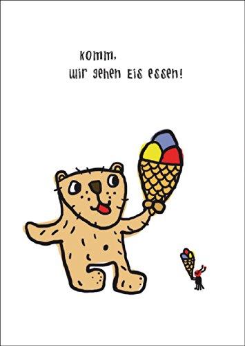 Uitnodigingskaart met beer niet alleen voor kinderen: Kom, we gaan ijs eten • ook voor direct verzenden met uw persoonlijke tekst als inlegger. • Wenskaart met envelop om hoogtepunten van het leven met vrienden en familie te vieren.