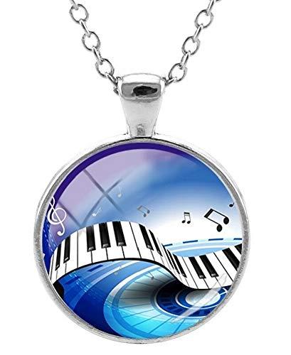 Halsketting met hanger, bedrukt, piano en muzieknoten, blauwe achtergrond