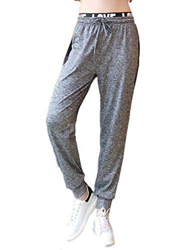Huixin Mujer Entrenamiento Pantalones Flecos Pantalones De Tiempo Libre Pantalones Deporte Elásticos Pantalon Deporte Fitness Cintura Alta Largos Pantalones con Cordón (Gris,XL)