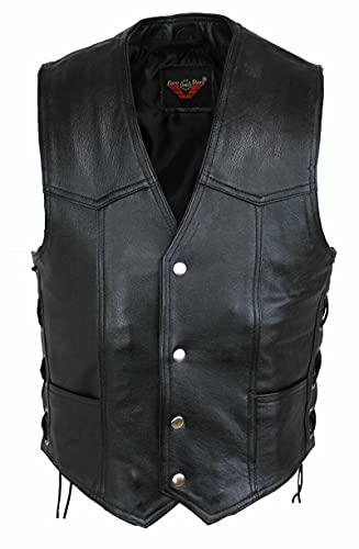 EURO STARS Rocker Biker Moto Button Chaleco de cuero negro para hombre Choppers y Rockers, cuero negro (S, negro)