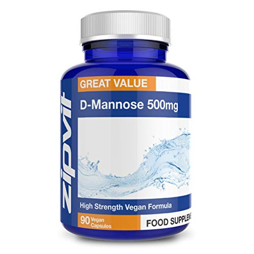 D-Mannose 500mg, 90 Vegan Capsules. Natural Cystitis Supplement for Women and Men. UK Manufactured.