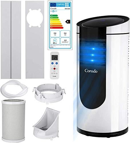 Corodo Mobile Klimaanlage, 9000 BTU 4in1 kühlen, Luftentfeuchter, lüften, Ventilator - Mobiles Klimagerät mit Bodenrollen,Montagematerial, Fernbedienung - New Model