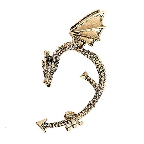 Pendientes de brazalete de dragón Punk Rock Vintage para mujeres y hombres, pendientes góticos con Clip Retro, joyería Piercing-Bronce D