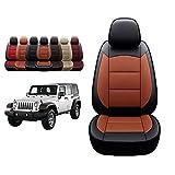 Oasis Auto 1997-2006 Wrangler TJ Custom Leather Seat Covers Compatible with 1997 1998 1999 2000 2001 2002 Wrangler (1997-2002 Wrangler, Black&Orange)