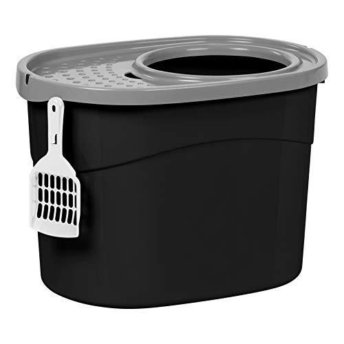 Iris Ohyama, Bandeja de arena para gatos con tapa perforada, sin olores ni derrames de basura, entrada grande ø 22,9 cm, pala incluida, para gato - Top Entry Cat Litter Box TECL-20 - Negro ✅